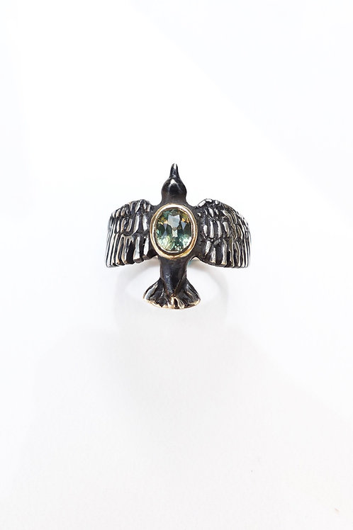 Starling Bird Green Sapphire Gold and Black Ring