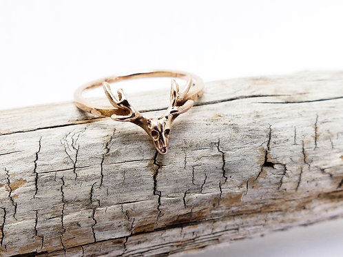Handmade Gold Deer Skull Ring