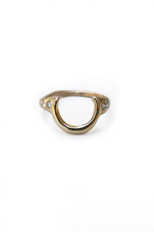 Handmade Solid 14k Gold Crescent Moon Diamond Ring