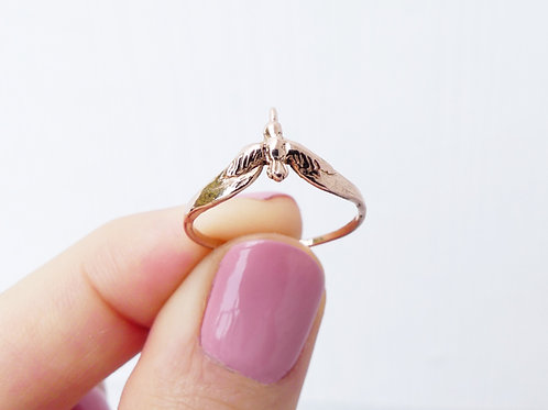14k Gold Stacking Humming Bird Ring