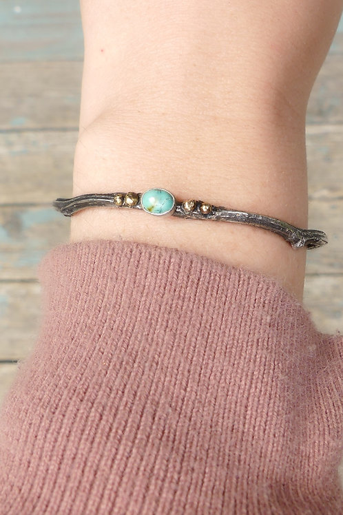 Sterling Silver and 14k Yellow Gold Turquoise Cuff