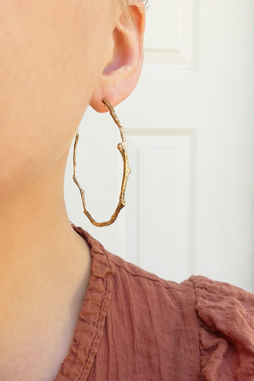 Handmade Solid 14k Gold Irregular Twig Hoop Earrings