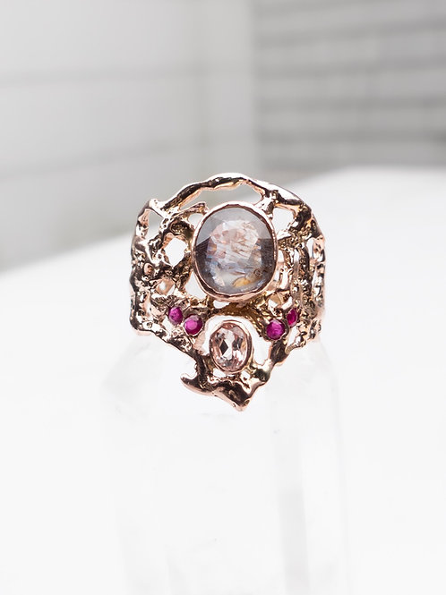 14k Rose Gold Sapphire and Ruby Ring