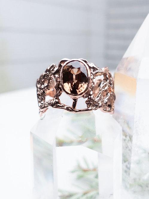14k Rose Gold Brown Zircon Ring