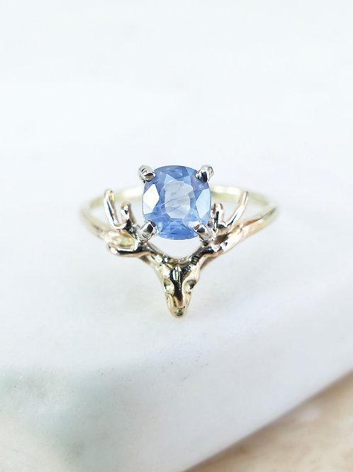 Handmade Gold and Sapphire Deer Ring