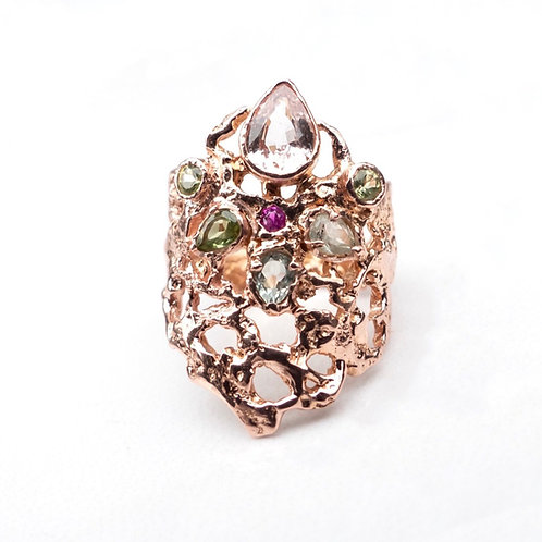 14k Rose Gold and Pink Sapphire Statement Ring