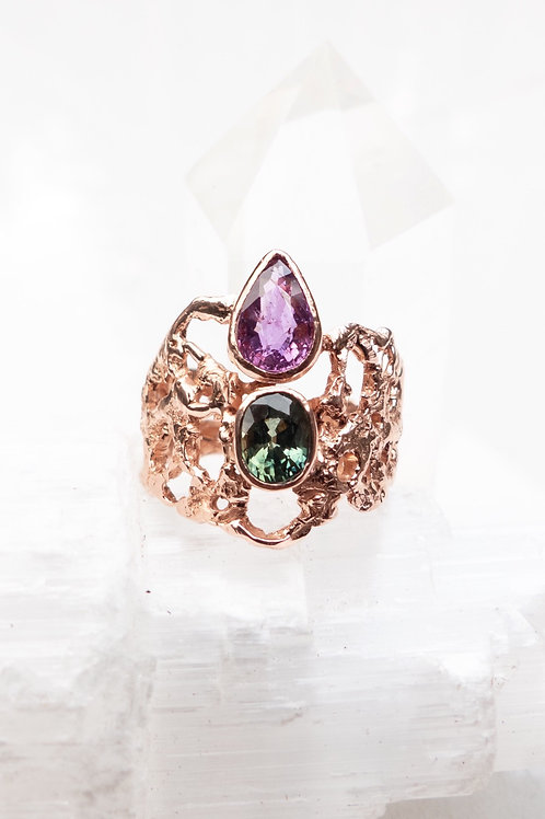 Rose Gold and Sapphire Statement Ring Inspired by Nature