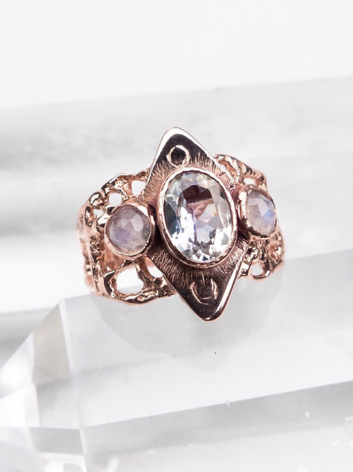 14k Rose Gold Tanzanite Moon Ring