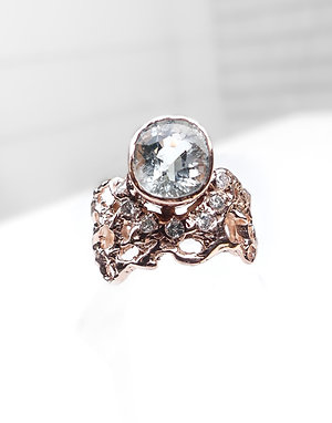 14k Rose Gold White Sapphire and Diamond Ring