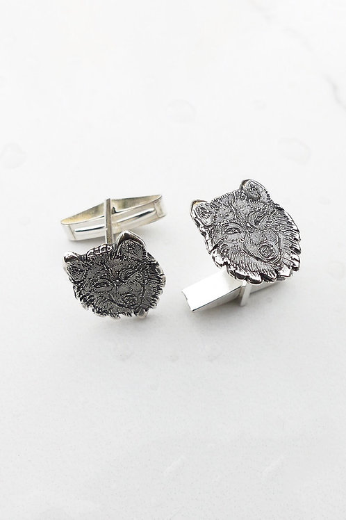 Wolf Cufflinks Handmade in Sterling Silver