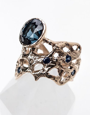 14k Yellow Gold Blue Topaz Nature Inspired Ring