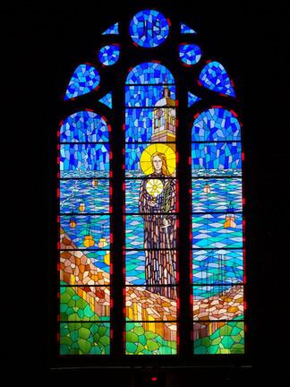 Witraż w kościele św. Barbary w Gdańsku