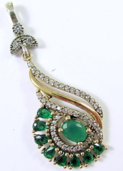 Silver emerald pendant zunparalleled item description condition new item pendant size 17 color silver green white stone emerald white topaz metal sterling silver bronze purity aloadofball Images