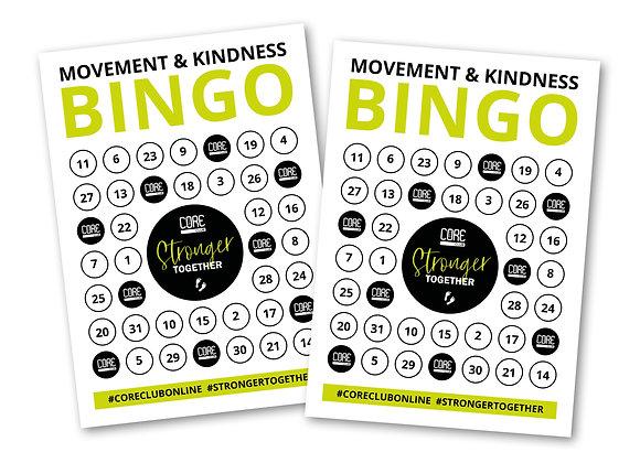 Movement and Kindness Bingo Card