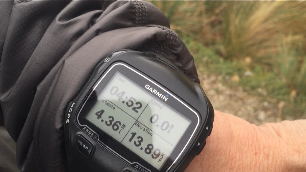 Garmin at top of Dead Woman's Pass