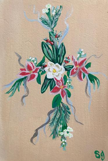 Magnolia/Poinsettias Flower Cross