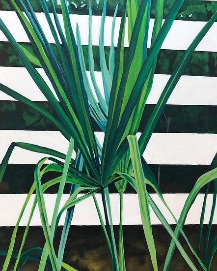palm frond painting green white