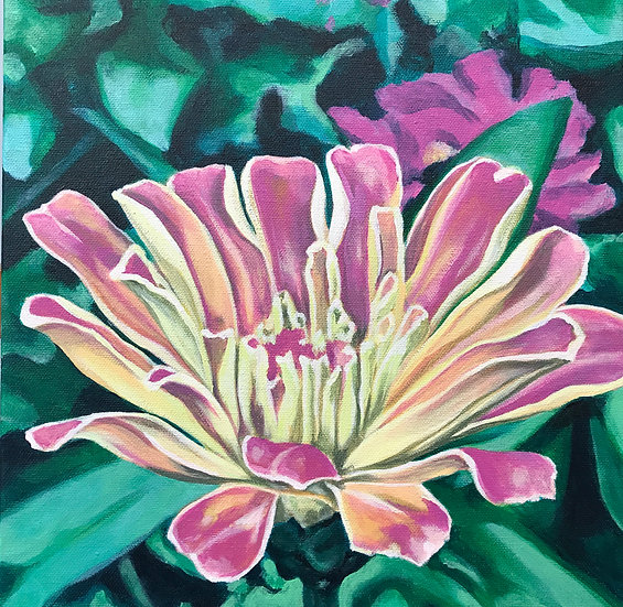 open flower painting pink
