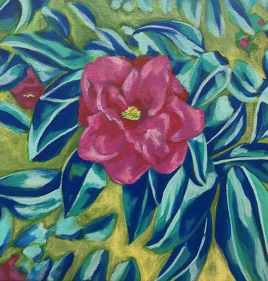 camellia flower painting blue