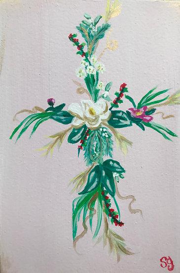 Magnolia/Evergreen Flower Cross