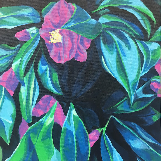 pink camellia flower painting