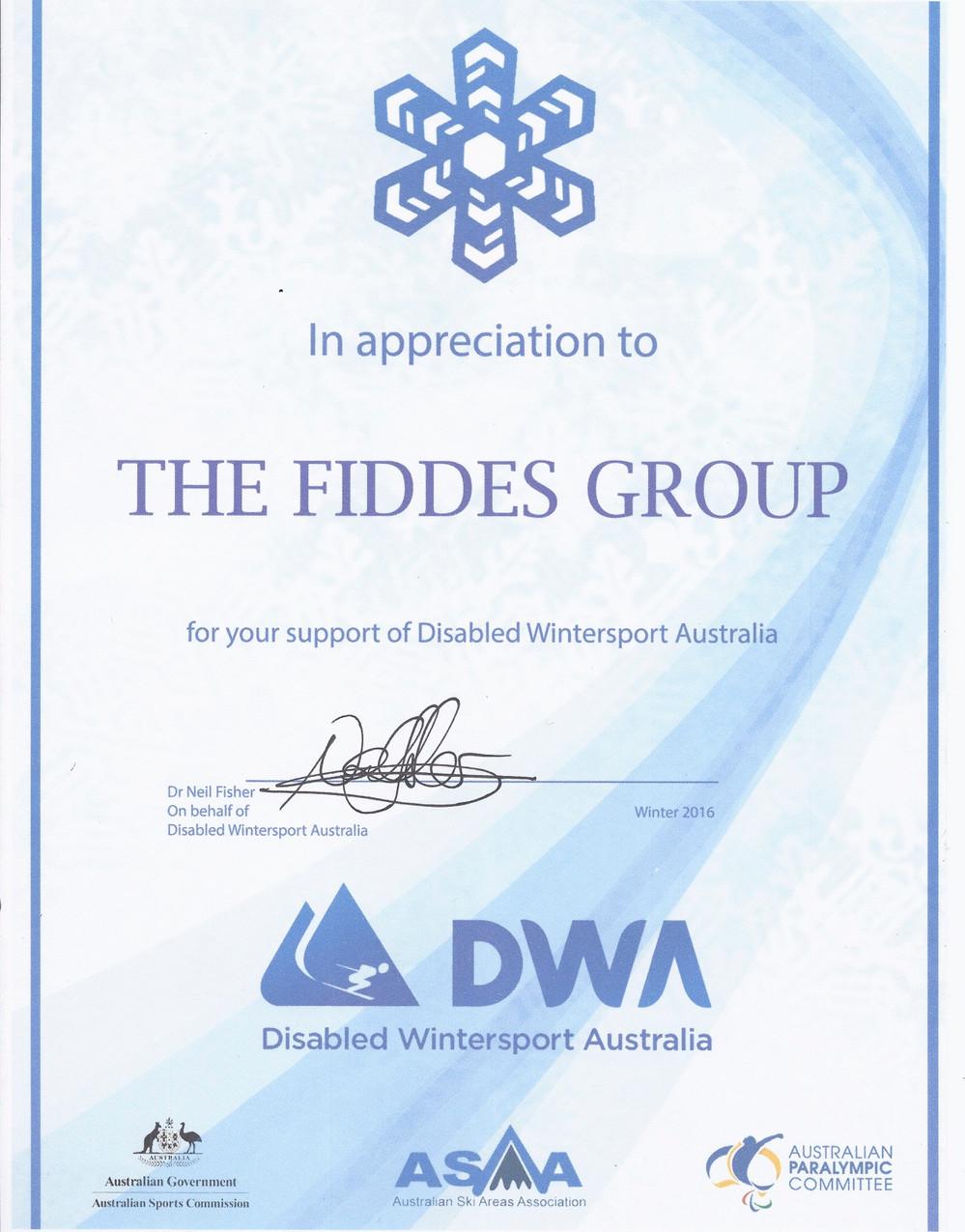 DWA Certificate of Appreciation