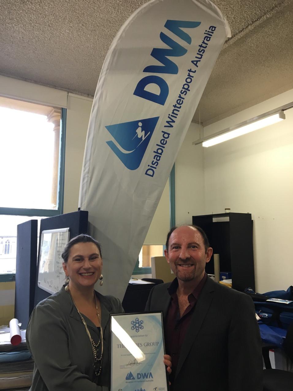 Nyree & Neil Fisher - DWA Certificate of Appreciation