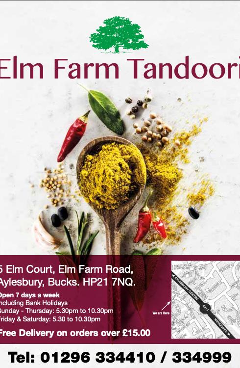 Elm Farm Tandoori menu