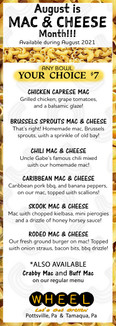 August is Mac and Cheese month at WHEEL restaurant in Pottsville, Pa!