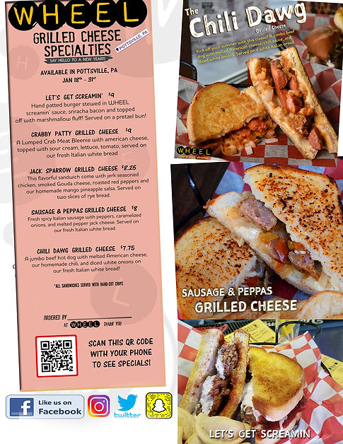 Featured grilled cheeses at WHEEL in Pottsville, PA!!!