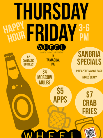 HAPPY HOUR Wednesday, Thursday, and Friday