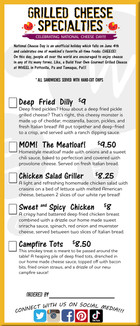 Specialty Grilled Cheese Menu starting June 1st 2021