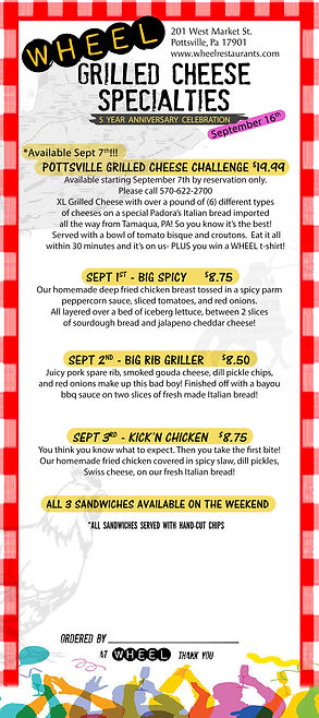 Featured grilled cheeses Sept 1-5th