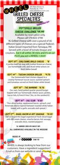 WHEEL restaurant Pottsville, Pa Grilled Cheese Feature Menu
