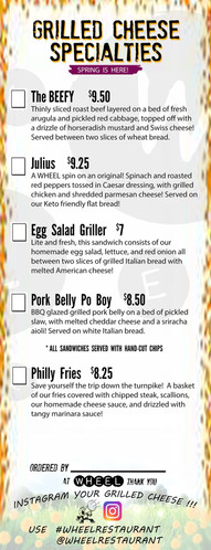 Spring Specialty Grilled Cheese MEnu