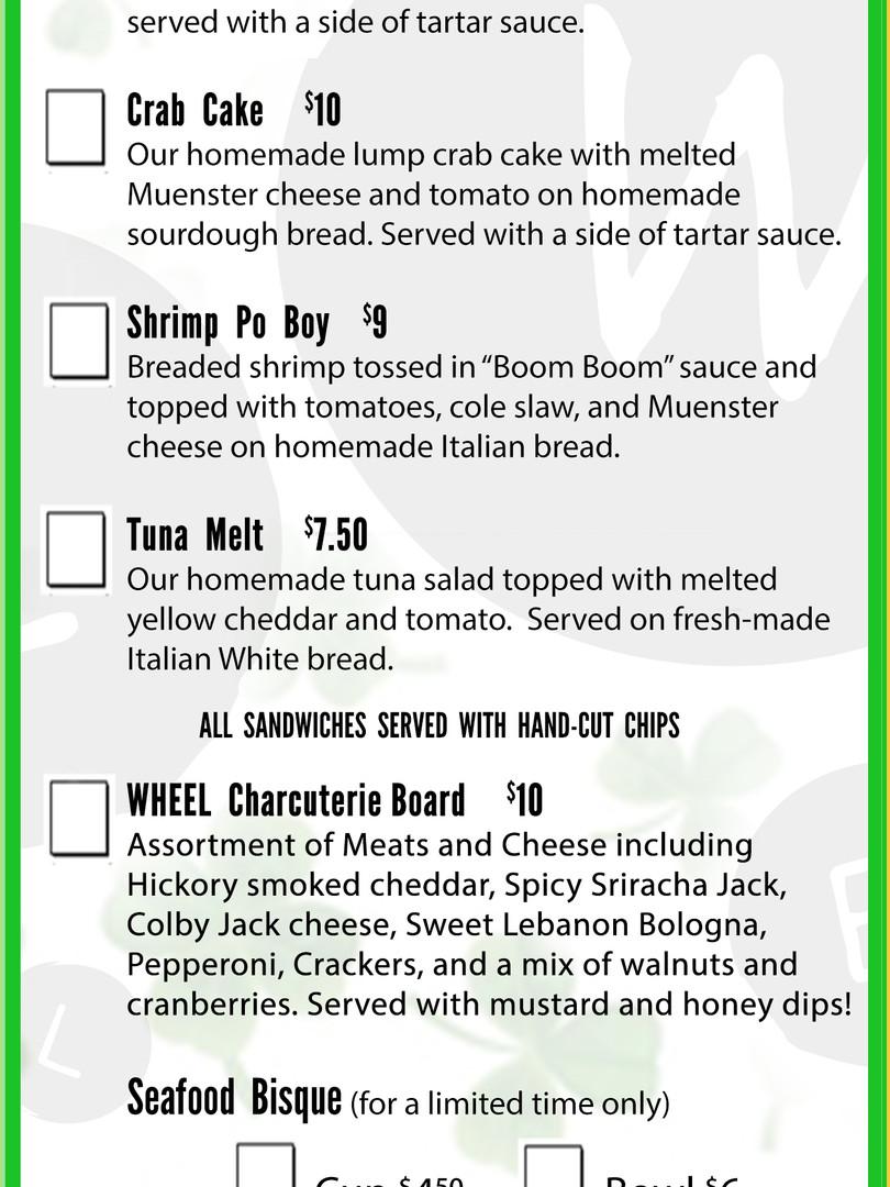 Lent menu at WHEEL in Tamaqua, PA