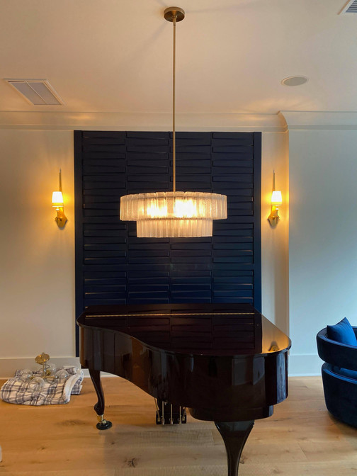 Over-piano chandelier install