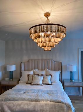 Bedroom large chandelier install