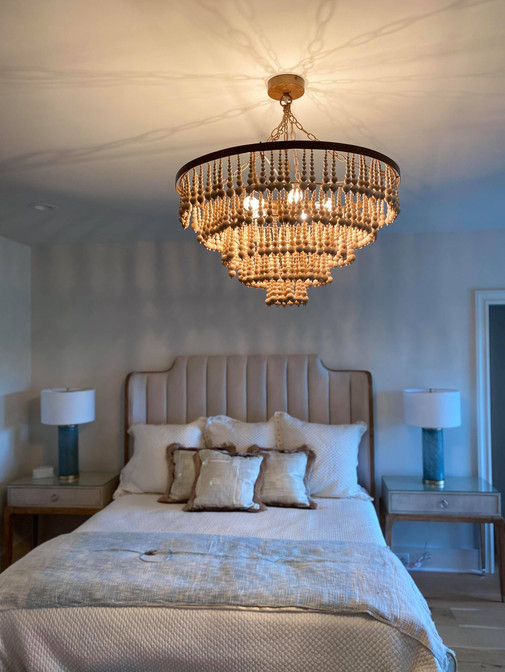Bedroom large chandelier install