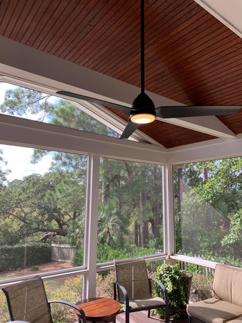 Outdoor porch ceiling fan and lighting