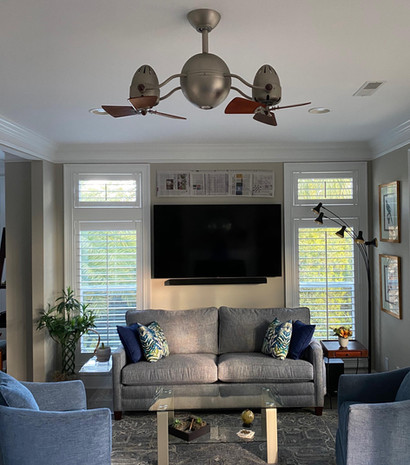 Living room dual-head ceiling fan