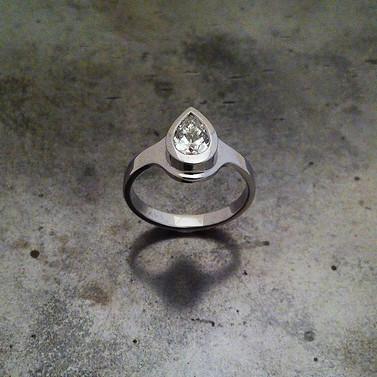 Pear-Shaped Diamond White Gold Ring
