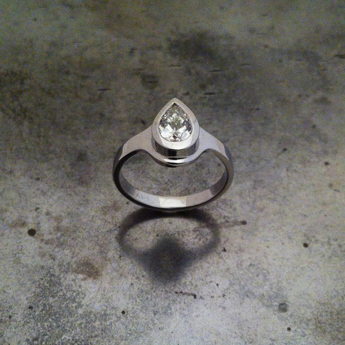 Pear-Shaped Diamond White Gold Ring