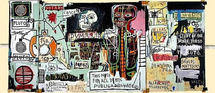 "Jean-Michel Basquiat. ""Notary"". 1983. Acrylic, oil paintstick and paper collage on canvas mounted on wood supports. See it at Princeton University Art Museum. It's on long-term loan."