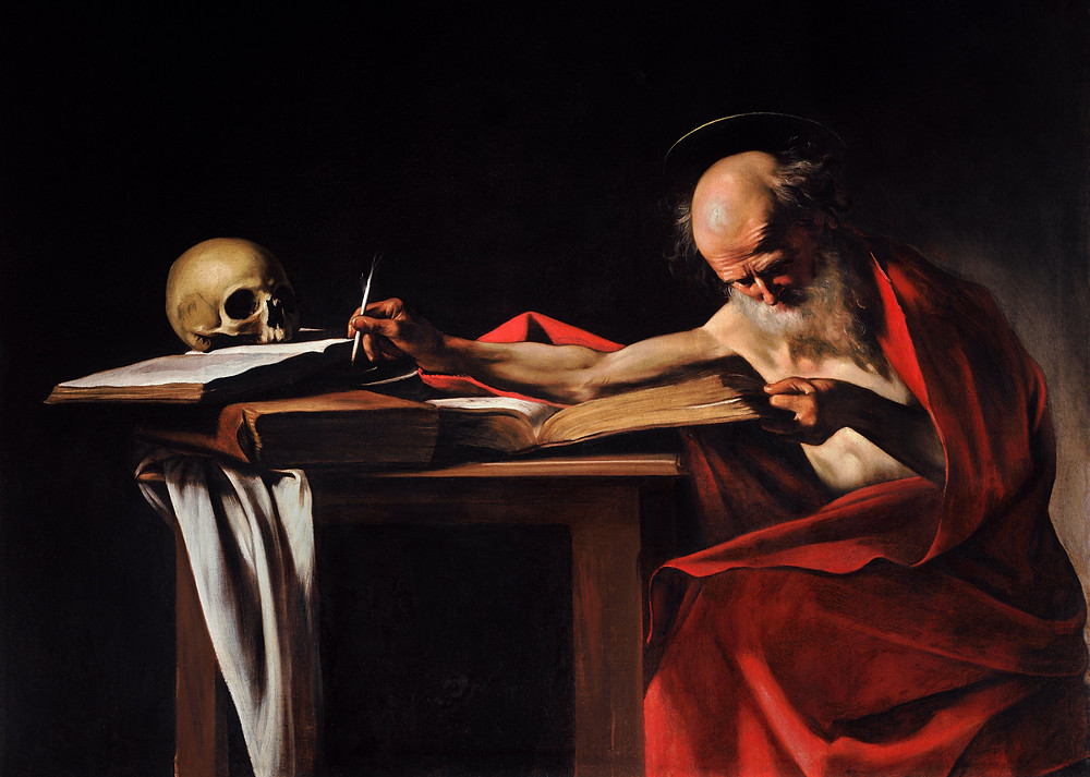 Saint Jerome Writing, also called Saint Jerome in His Study or simply Saint Jerome, is an oil painting by Italian painter Caravaggio. Generally dated to 1605-1606, the painting is located in the Galleria Borghese in Rome.  The painting depicts Saint Jerome, a Doctor of the Church in Roman Catholicism and a popular subject for painting, even for Caravaggio, who produced other paintings of Jerome in Meditation and engaged in writing. In this image, Jerome is reading intently, an outstretched arm resting with quill. It has been suggested that Jerome is depicted in the act of translating the Vulgate.  The painting is generally dated to 1605-1606, largely on the statements of 17th-century art historical biographer Gian Pietro Bellori, though Denis Mahon suggests 1602-1604. According to Bellori, Caravaggio produced the piece at the behest of Cardinal Scipione Borghese, who became a cardinal in 1605, but it is possible that Borghese acquired it later as it is not mentioned in a 1613 poem by Scipione Francucci that described the Borghese Caravaggio collection. Whether or not the dating is accurate, the work is believed to have originated from Caravaggio's late Roman period, which ended with the painter's exile to Malta in 1606.  That Saint Jerome Writing is the work of Caravaggio is sometimes brought into question, as it was attributed to Ribera in the Borghese inventories from 1700 until 1893.