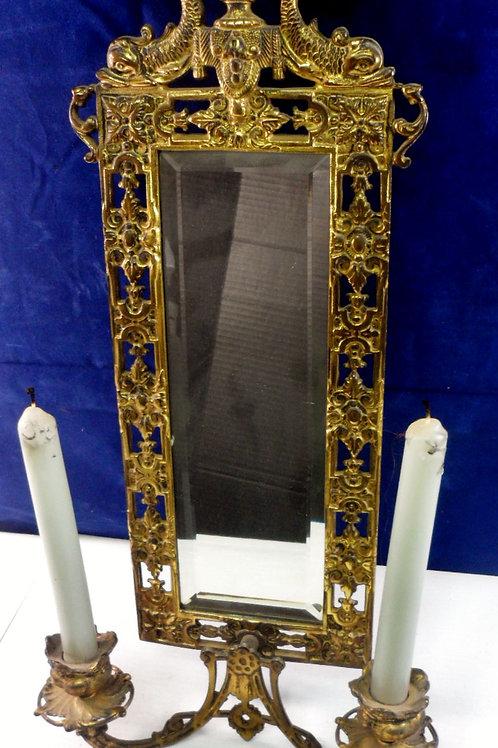 19th Century Brass Dolphin Mirror Sconce