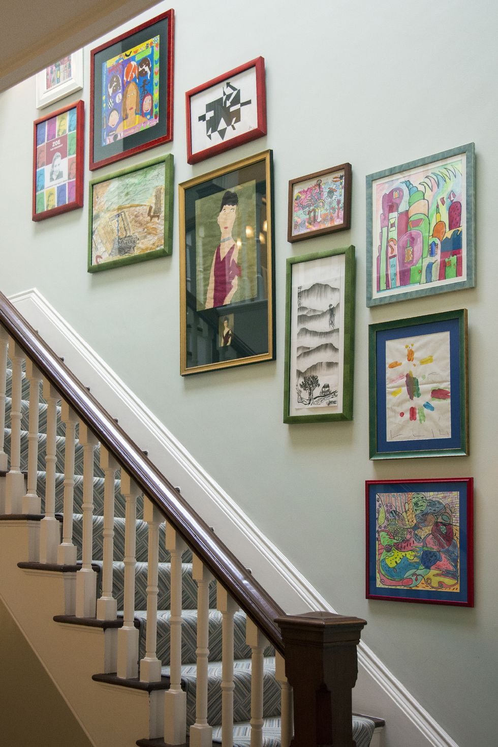 childrens art, gallery wall, hallway, stairs, paint, frames, interior design, trends,