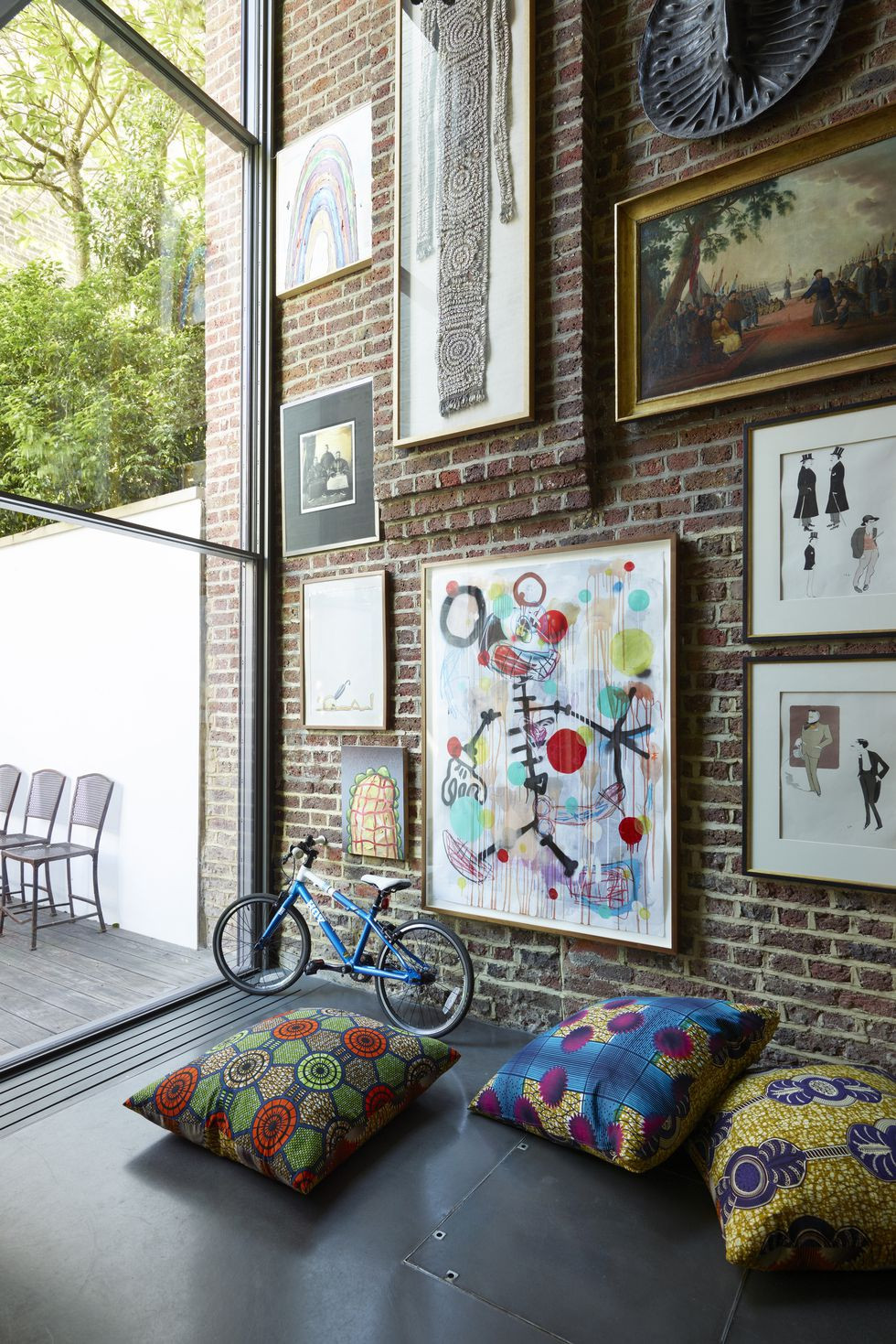color, colorful, drama, brick. windows, new house, renovate, artwork, painting, photos,