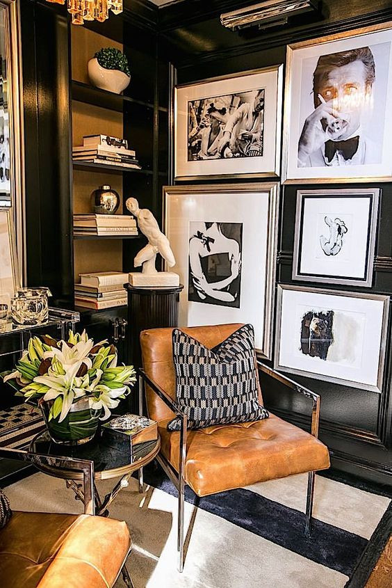 gallery wall, art, black and white, gloss, classy, hollywood, interior design,