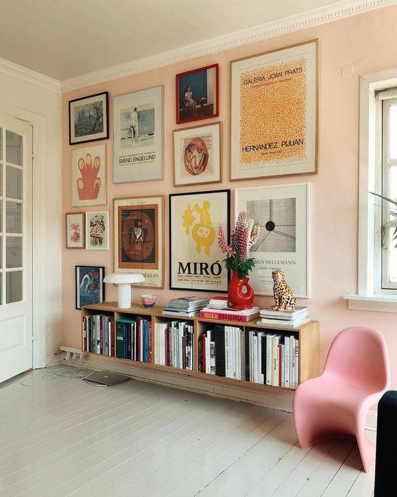 feminine, girlie, artwork, college, dorm room, decor, decor inspo, gallery wall, pink  interior design